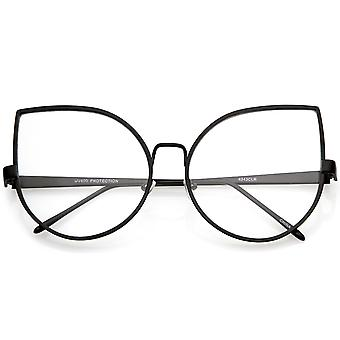 Oversize Metal Cat Eye Glasses With Slim Arms Clear Round Flat Lens 62mm