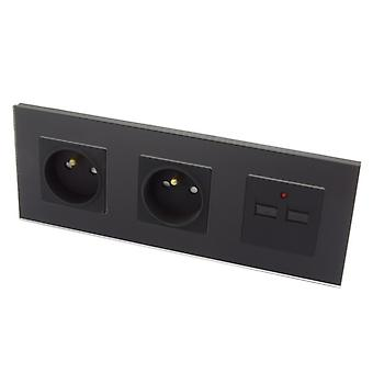 I LumoS Luxury Black Glass Double 16A French + 2.1A USB Wall Plug Triple Socket