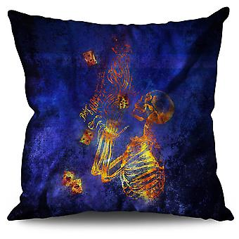 Skeleton Poker Bet Linen Cushion 30cm x 30cm | Wellcoda