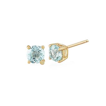 Classic Round Aquamarine Stud Earrings in 9ct Yellow Gold 3.5mm 11567