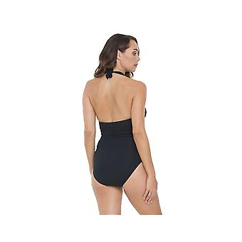 Seaspray SY007054 Women's Black Solid Colour Costume One Piece Swimsuit