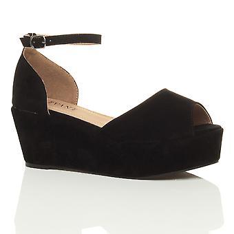 Ajvani womens basso tacco medio blocco cuneo piattaforma flatform sandali scarpe