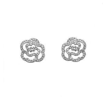 Womens argento zirconi pietre Orecchini fiore