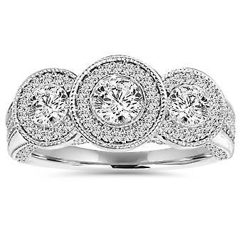 1ct Vintage 3-sten diamant Ring 14K hvidguld