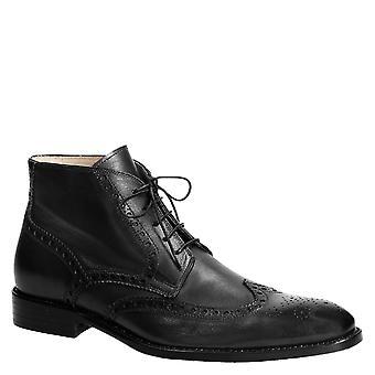 Håndlaget kjole ankelen støvler for menn i sort skinn