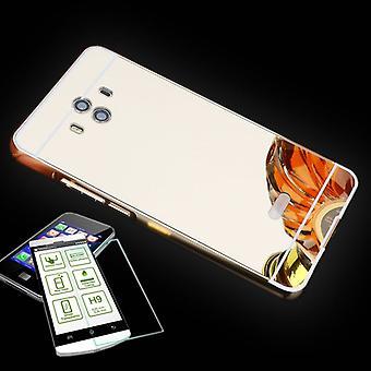 Spegel / spegel aluminium stötfångare 2-delat guld + 0.3 mm H9 härdat glas för Huawei Mate 10