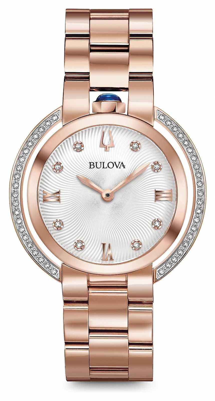 Bulova Womans Rubaiyat Rose Gold Tone Diamond 98R248 Watch