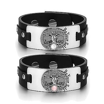 Drzewo życia Celtic moce miłości pary biały różowy symulowanych koty oko Czarna skóra Tag bransoletki