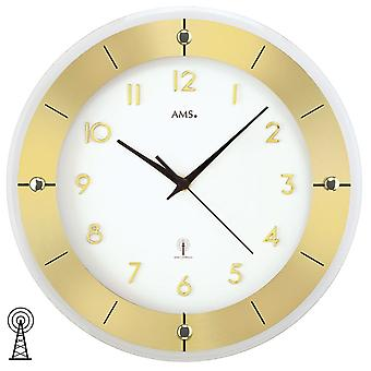 AMS wall clock 5850 wireless faceted mineral glass brass lacquered aluminium