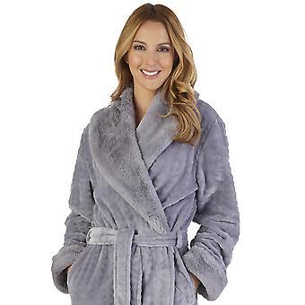 Slenderella HC2343 Women's Faux Collar Robe Loungewear Bath Dressing Gown