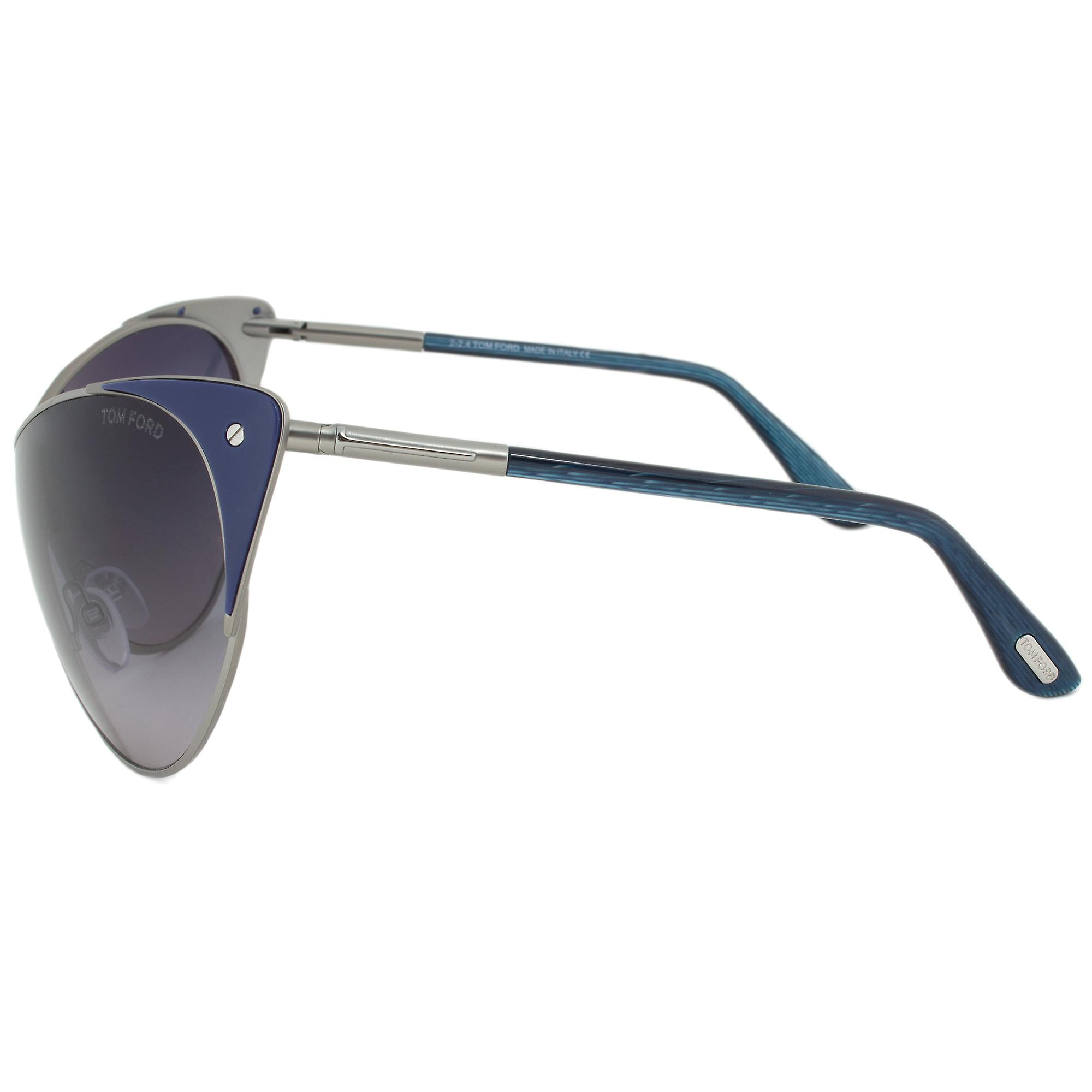 Tom Ford Vanda Cateye Sunglasses FT0364 89W | Gunmetal and Indigo Frame | Grey Gradient Lens