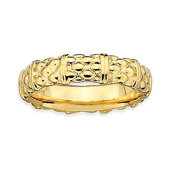 925 Sterling Silver Polished Patterned Stackable Expressions 14k Gold Plated Ring Jewelry Gifts for Women - Ring Size: 5