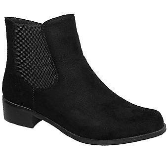 GLC541 Dames Mezzo Faux Suede elastisch kant lage hak Ankle Boots Shoes