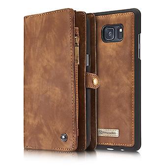 CASEME Samsung Galaxy Note 8 Portefeuille en cuir rétro Case Brown