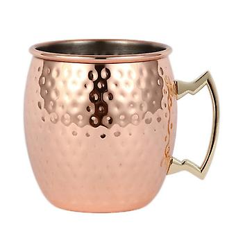 Copper coloured beaker in stainless steel-hammered