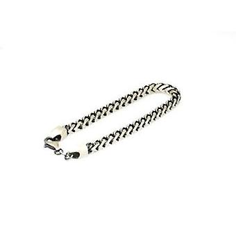 """Jakob Strauss Gents 8"""" Oxidised Brushed Stainless Steel 3D Curb Link Bracelet"""