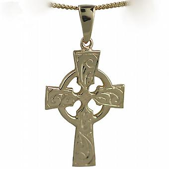 9ct Gold 35x24mm hand engraved Celtic Cross with bail on a curb Chain 24 inches