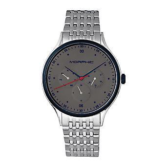 MORPHIC M65 serie armband horloge w/Day/Date-zilver/grijs