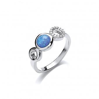 Cavendish francia Silver, CZ és a Blue Opalique háromszoros kör Ring