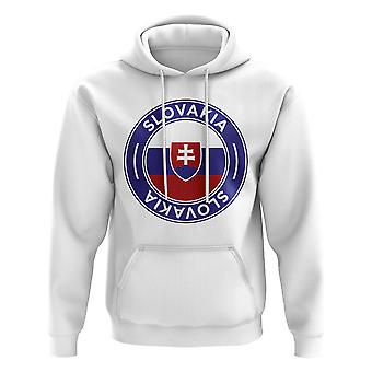 Slovakia Football Badge Hoodie (White)