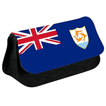 Anguilla Flag Printed Design Pencil Case for Stationary/Cosmetic - 0239 (Black) by i-Tronixs