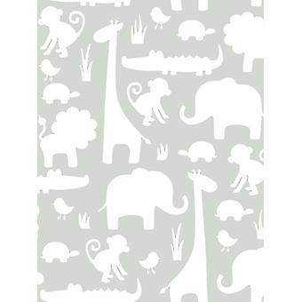 NuWallpaper Its A Jungle In Here Peel And Stick Wallpaper Grey Fine
