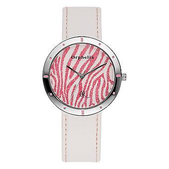 ORPHELIA Damen analoge Uhr Zebra weiß Leder 122-1709-71