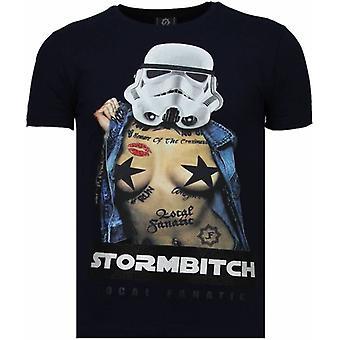 Stormbitch-tekojalokivi T-paita-sininen