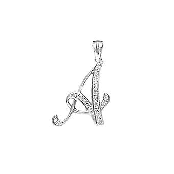 Jewelco London Ladies 9ct White Gold Pave Set Round G SI 0.1ct Diamond Identity Script Initial ID Charm Pendant Letter A