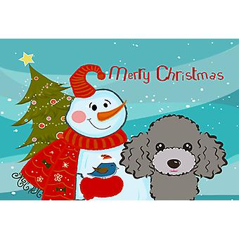 Carolines Treasures  BB1879PLMT Snowman with Silver Gray Poodle Fabric Placemat