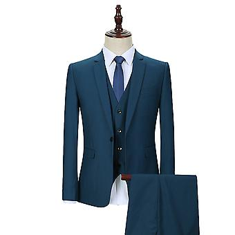 Allthemen Men's 3-Piece Tuxedos Solid Slim Fit Business Suit Jacket&Vest&Pants