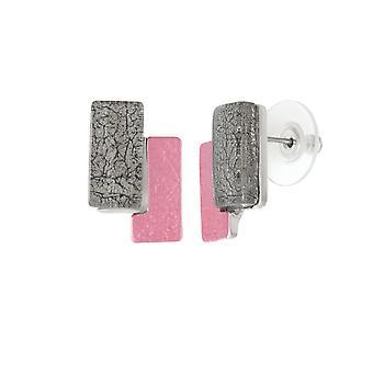 Eternal Collection Contemporary Multi Enamel Silver Tone Stud Pierced Earrings