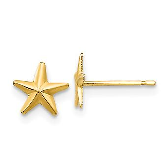 14k Yellow Gold Polished Star Post Earrings Jewelry Gifts for Women - .2 Grams