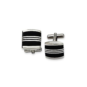 Stainless Steel Polished Enameled Cuff Links Jewelry Gifts for Men