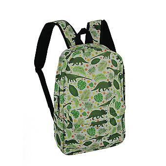 White and Green Dinosaur and Tropical Leaf Backpack