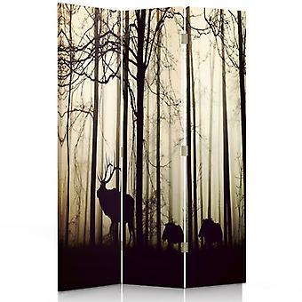 Raumteiler, 3 Paneele, doppelseitig, 360 ° drehbar, Leinwand, Tiere im Wald