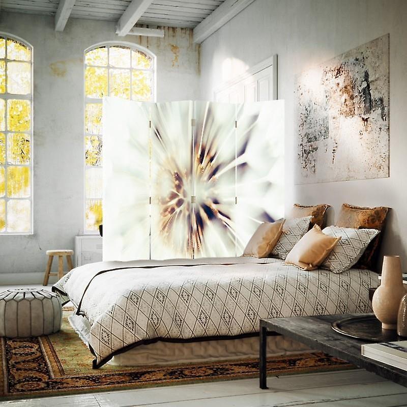 Diviseur de chambre, 4 panneaux, double-sided, toile, fleurs blanches 2