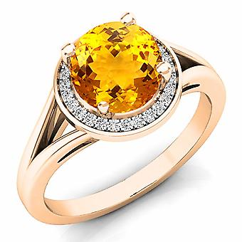 Dazzlingrock Collection 14K 7 MM Citrine & White Diamond Halo Style Bridal Engagement Ring, Rose Gold