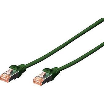 Digitus RJ45 DK-1644-0025/G Network cable, patch cable CAT 6 S/FTP 25.00 cm Green Flame-retardant, incl. detent
