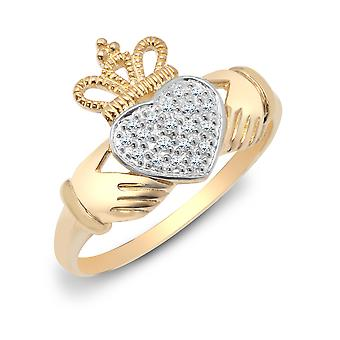 Jewelco London Damen 9ct Gelbgold Pflaster Set Runde H I2 0,1 ct Diamant Claddagh f'inne Chladaigh Cocktail Ring 13mm