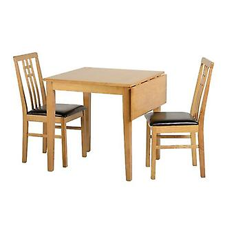 Vienna Drop Leaf Dining Set Medium Eiche/braun Pu