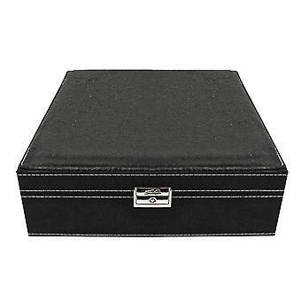 Jewellery box, suede-Black, 26 x 26 cm