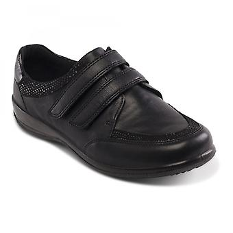 Padders Caitlin Ladies Leather Extra Wide (2e/3e) Shoes Black