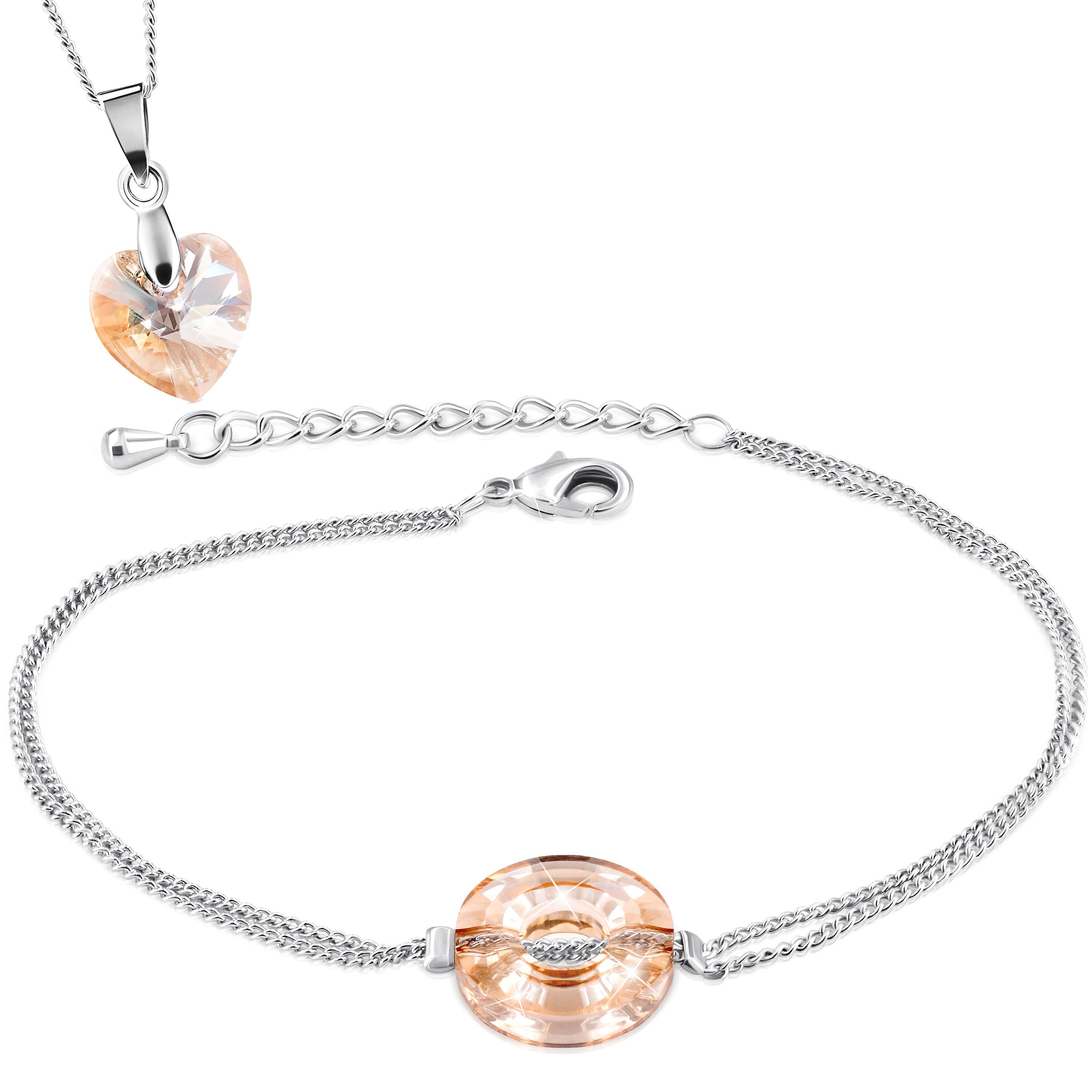 Necklace and bracelet with swarovski crystal. rhodium plated. by 2splendid. 2 for 1. gift box included. bnqz028