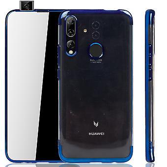 Handyhülle für Huawei P smart Z Blau - Clear - TPU Silikon Case Backcover Schutzhülle in Transparent / glänzender Rand Blau