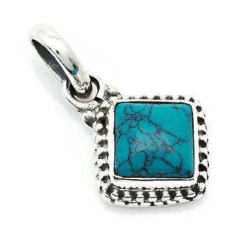 Kedja hängande amulett Silver 925 Sterling Silver Turkos Blå Grön Sten (Nr: MAH 148-15)
