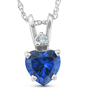Diamond & Simulated Blue Sapphire Heart Shape Pendant Necklace 14K White Gold