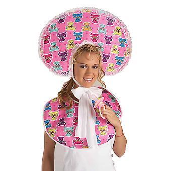 Deluxe Pembe Bebek Bebek Seti Bonnet Bib Komik Kadın Kostüm