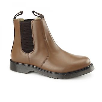 Grafters Ronald Unisex Plain Air Cushion Sole Chelsea Boots Brown