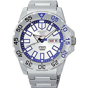 Seiko 5 Sports Baby Monster Snow Monster Silver Stainless Steel Blue Dial Men's Watch